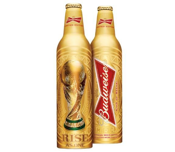 "Budweiser has unveiled a limited edition gold bottle featuring the iconic FIFA World Cup Trophy as part of its ""Rise As One"" campaign for the 2014 FIFA World Cup Brazil.  (PRNewsFoto/Budweiser)"