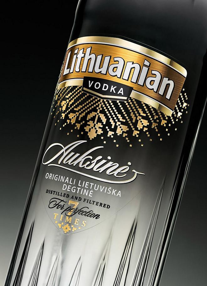Nowy projekt butelki wódki Lithuanian Vodka Gold