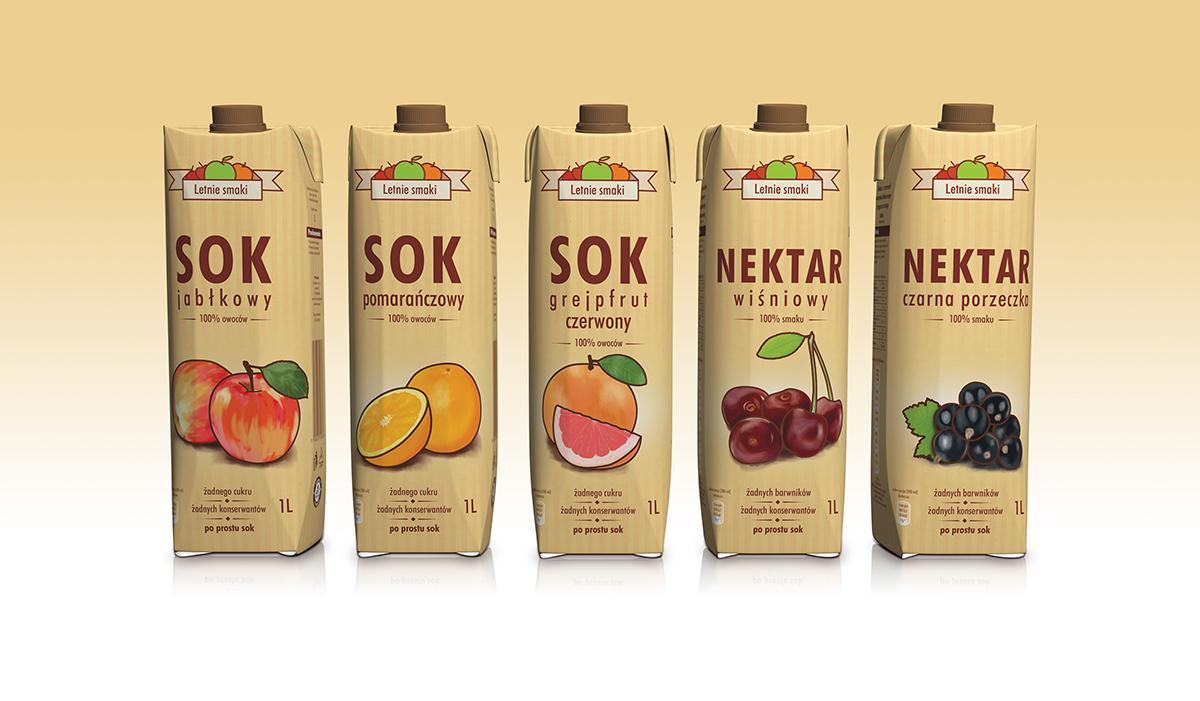 Opakowania soków letnie smaki