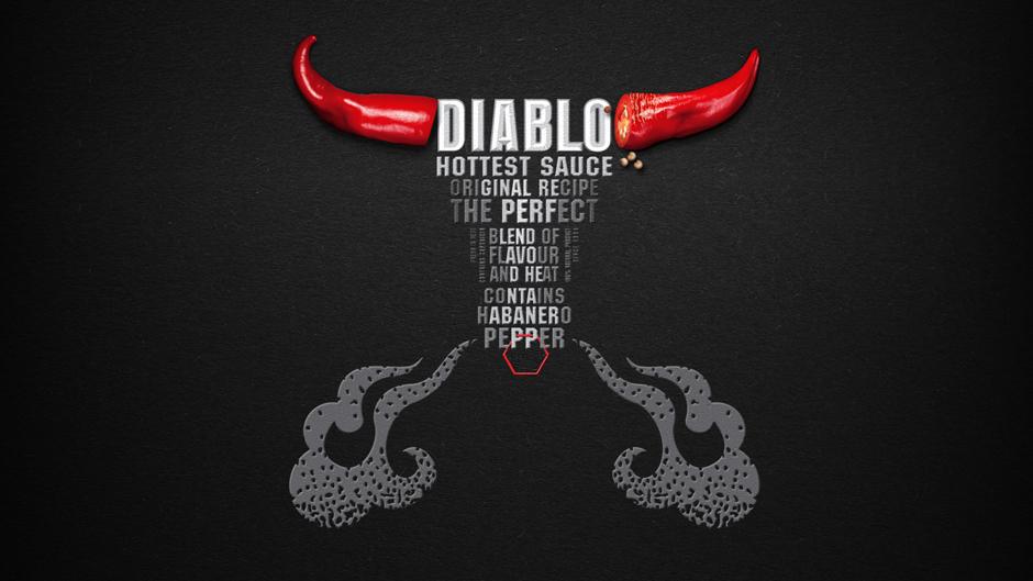 Projekt butelki sosu Diablo