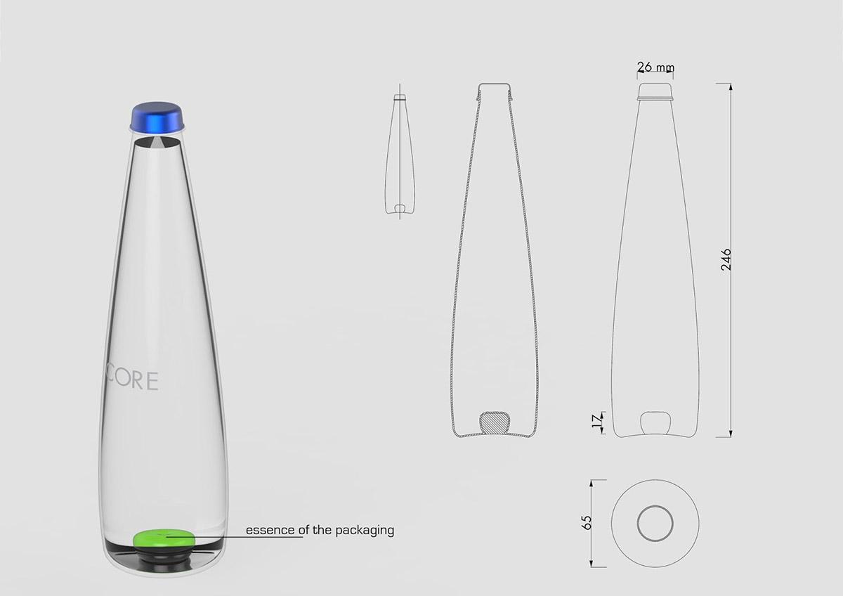 Projekt butelki wody Core Flavored Water