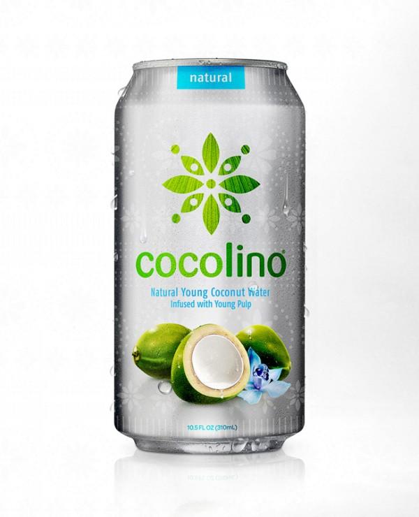 projekt butelki i puszki napoju Cocolino